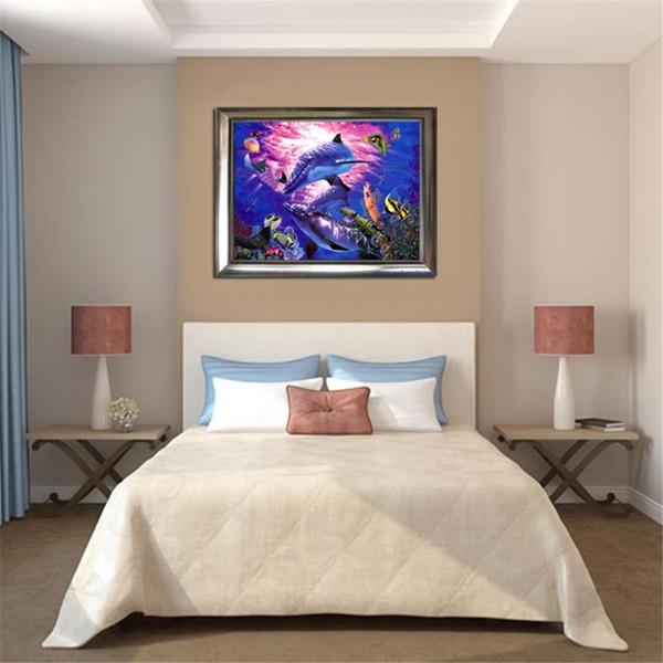 5d pintura diamante diamante golfinho do oceano diy diamante mosaico ponto cruz rodada strass imagem 3d decoração de presente