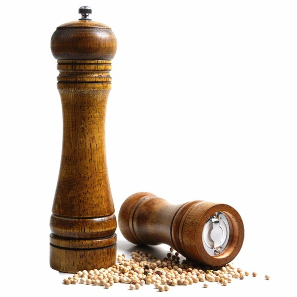 "8"" Vintage Wooden Manual Pepper Grinder Salt Spices Grain Mill Shaker Kitchen Grinding Tool Milling Machine Cutter"