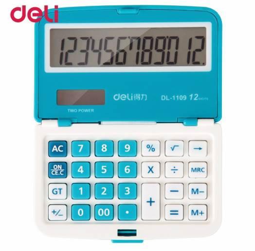 Deli 12 Dígitos Solar Dobrável Mini Ultrathin calculadora Dupla fonte de Alimentação Escritório Eletrônico Portátil de Bolso Portátil Calculadora
