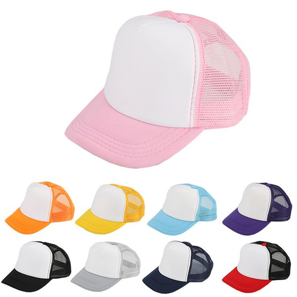 Kids Mesh Blank Trucker Cap Adult Caps Patchwork Hat Summer Hip Hop Hat Children Baseball Caps Baby Fashion Sunhats Visor AAA1064