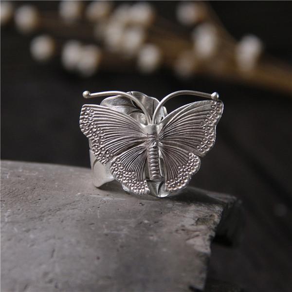 2018 Real New Anel Feminino 925 Sterling Butterfly Ring Sra. Personalidad exagerada Restaurar formas antiguas hechas a mano Tailandia