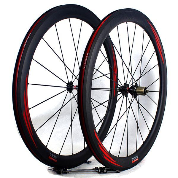 Ruote da strada per bici da strada in fibra di carbonio 50mm 700C superficie del freno basalto copertoncino tubolare da corsa per bici da corsa ruote larghezza cerchio 25mm 3k opaco