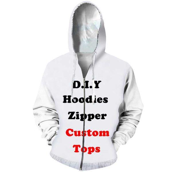 Diy Custom Design Mens Womens Clothing 3D Print Zipper Sweatshirt Hoodies Drop Shipping Wholesalers Suppliers For Drop Shipper