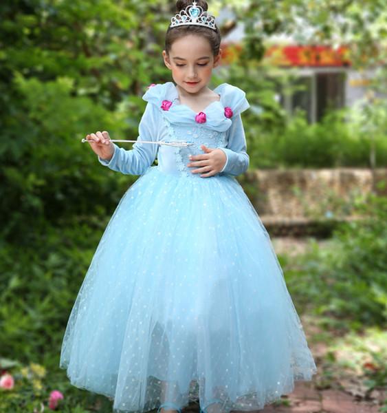 2018 Zarif Dantel Çiçek Kız pageant elbise Mavi Kat uzunluk Yüksek bel Fransız Uzun kollu Sahne Doğum Günü Güz kış Ücretsiz DHL