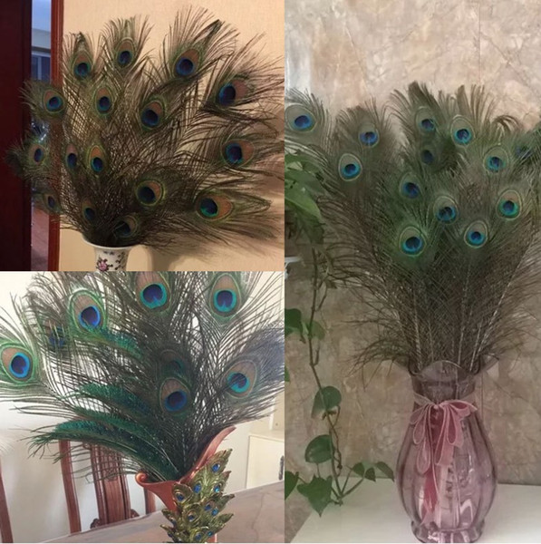 top popular 2016 Elegant decorative materials Real Natural Peacock Feather Beautiful Feathers about 25 to 30 cm free shipping 2021