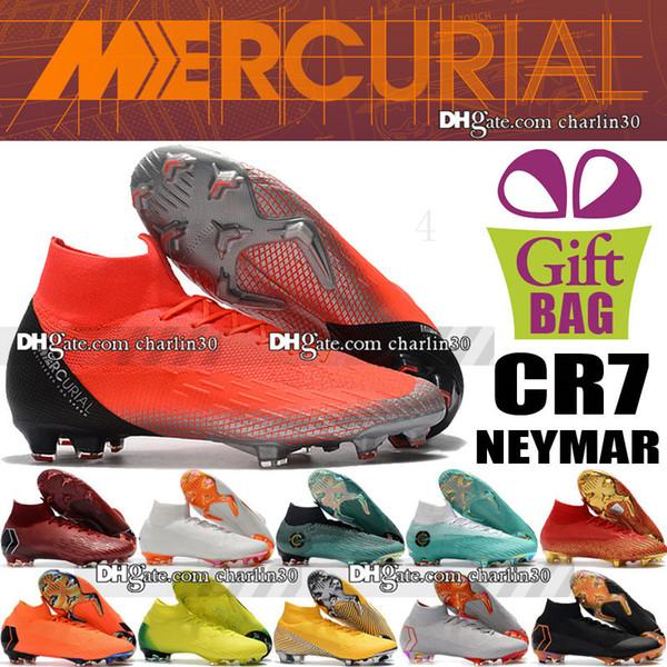 2018 Mens Mercurial Superfly VI FG Chuteiras De Futebol Cristiano Ronaldo Chuteiras Meias Mercurial Superfly CR7 Neymar Futebol Botas US 6.5-12