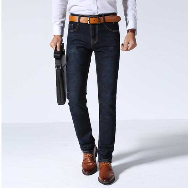 2018 neue Männer Business Jeans regelmäßige gerade Füße Jeans dunkel Business Gentleman lange Freizeithose