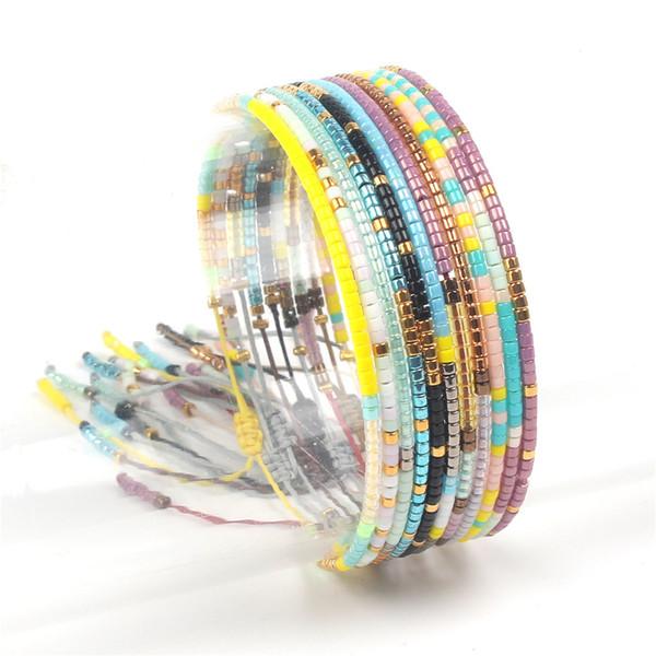 grosses soldes choisir l'original belle couleur 2019 Bohemia Friendship Bracelets Handmade Beaded Bangles New Jewelry Seed  Beaded Miyuki Beads Bracelets Thin Rope String Braided Bracelet From ...
