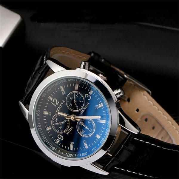 Moda de primeras marcas de lujo Casual reloj de cuarzo de cuero reloj de los hombres Perfect Quality Blue Ray reloj de pulsera relogio masculino venta caliente