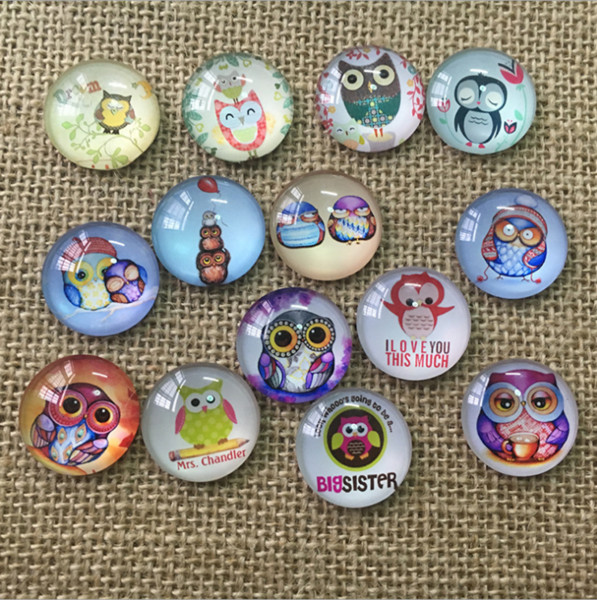 50pcs 2018 HOT selling Lovely owl galss Snap button Charm Popper for Snap Jewelry picture pendant