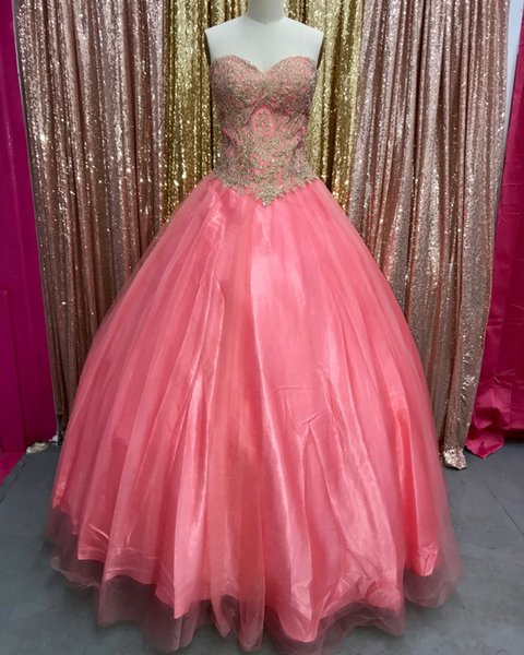 Designed Watermelon With Gold Appliques Ball Gown Quinceanera Dresses 2018 Sweetheart Long Prom Evening Gowns Sweet 16 vestidos de 15 Anos
