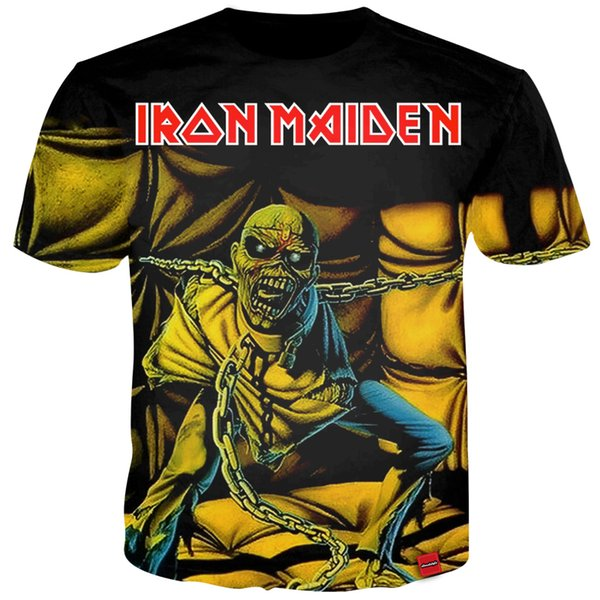 Cloudstyle 2018 3D Tshirts Men Iron Maiden Heavy Metal Print Streetwear Novelty Tees Summer Tops Fashion Popular Hot T-shirt
