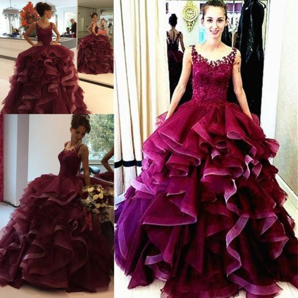 Fashion Ruffled Prom Dresses Jewel Ball Gown puffy skirt Hot Lace Top Party Evening Gowns Burgundy Sleeveless Custom made
