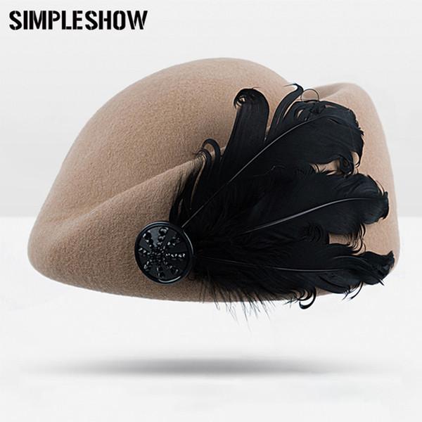 2018 Nuevo Sombrero de Fieltro de Lana Vintage Shipform Azafata Cap Mujeres Puro Jazz de Lana Invierno Cálido Gorro de Moda Sombrero Para Las Mujeres 5 colores