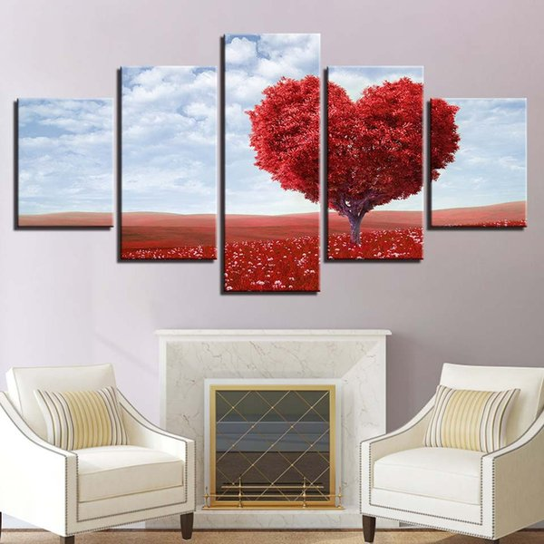Wall Art 5 Piece Red Romantic Tableau Love Heart Tree Pictures Canvas Painting Living Room Home Decor HD Prints Poster Framework