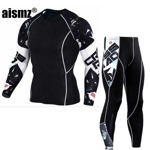 Aismz Men's Skin-Tight MMA Workout Fitness Suit Compression Shirts +Pants Rashguard Clothing Set