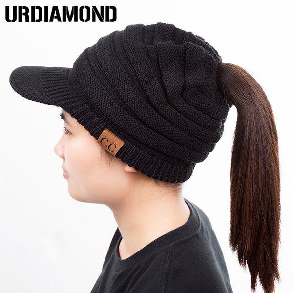 Compre Urdiamond Ponytail Beanie Hat Mujeres Crochet Knit Cap ...