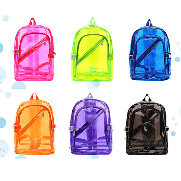 best selling DHL Summer Transparent Jelly PVC Backpack Beach Waterproof Clear Backpack Fashion Style Travel Portable Leisure Candy Color Shoulder bags