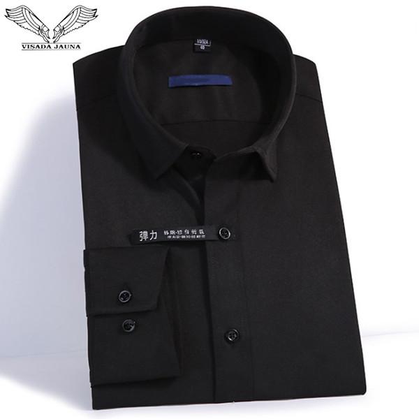 VISADA JAUNA Stretch Shirt Men's Long-sleeved Shirt Small Lapel Slim Business Dress Professional Solid Color Men XS N9008
