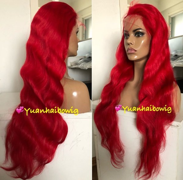 Red Full Lace Wigs Fashion Celebrity Wigs Vigin Brazilian Human Hair Lace Front Wigs Body Wave Free Shipping