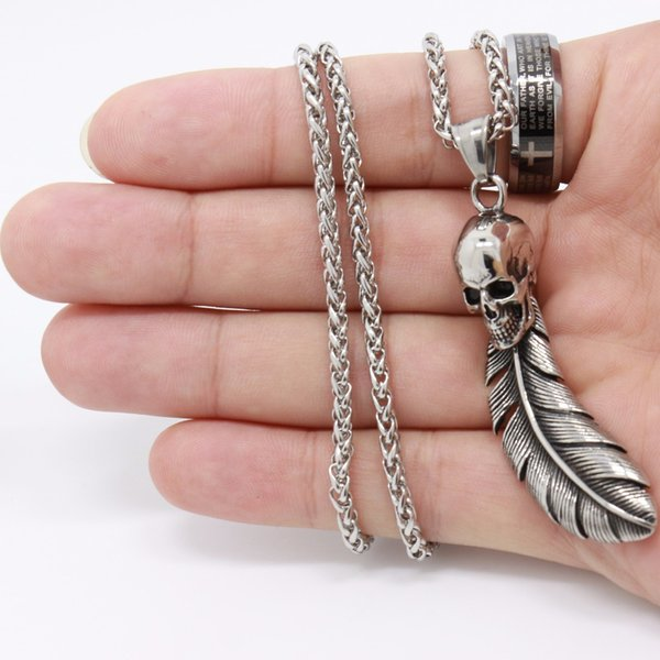 Hot Sale Skull Head Feather Pendants Necklaces Vintage Stainless Steel Necklace Men Jewelry Party pop jewelry