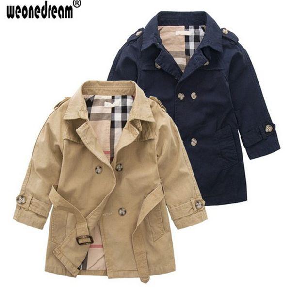 Niño Trench Coat Khaki Long Sleeves Abrigo de doble botonadura Niños Windbreaker Trench Coat para niños Chaqueta azul marino 3-10Y