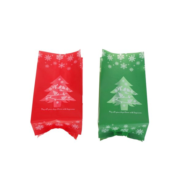 50Pcs Design Christmas Tree Candy Gift Bags Cookie Packaging Bags for Snack Xmas Decor Red Green 9.5*20cm