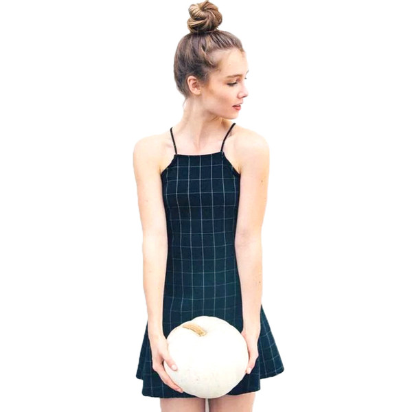Old School Preppy Style Student Cute Girls Ladies Dress Black Plaid Dress For Women Fashion Classic Spaghetti Strap Flared Dress