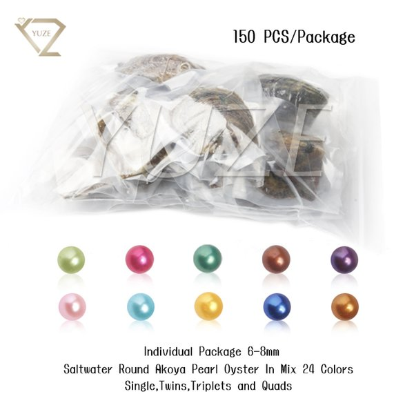 150PCS of Mix 24 Colors Single Twins Triplet Quads Individual Vacuum Package 6-8mm Saltwater Round Akoya Pearl Oyster