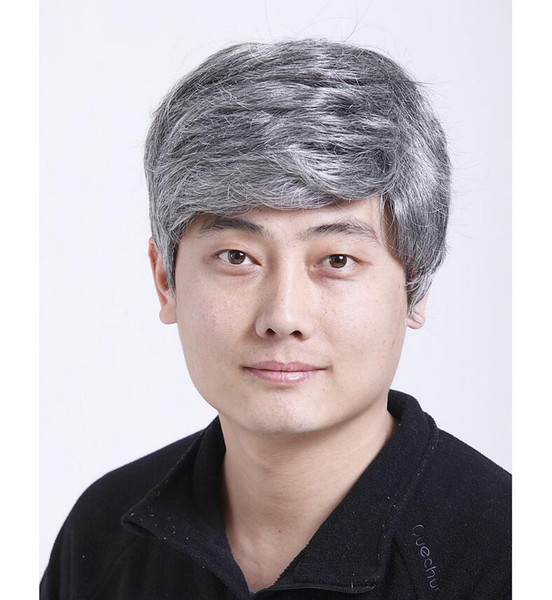 2019 Grey Hair Color Synthetic None Lace Wig Men Wigs Straight Natural Wig  Top Quality African American Men Wig From Mimidu10, $15.08 | DHgate.Com