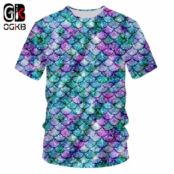 OGKB New Arrival Men/women's Casual Tshirt Funny Print Fish Scale 3D T-shirts Homme Hiphop Streetwear Punk O Neck Tee Shirts 7XL