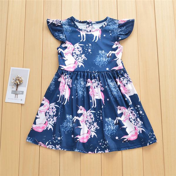 Girls unicorn printing princess dresses 1-5T kids summer flying sleeve skirt cartoon fairy animal pattern clothing