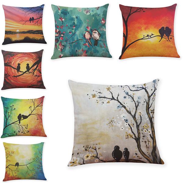 Uccelli Fiori Cuscini di lino Cuscini Home Office Divano Cuscino quadrato Custodia decorativa Copri cuscino senza inserto (18 * 18 pollici)