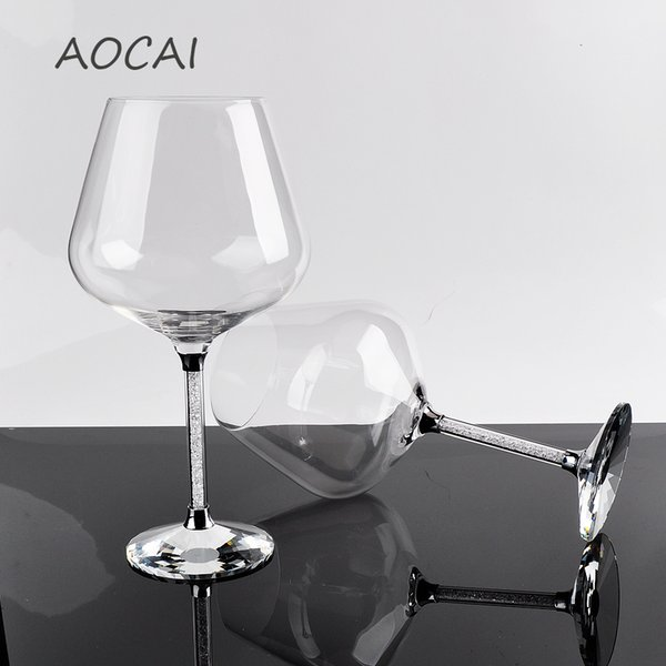 2 pieces 630ml red Burgundy Wine cup with crystal for Wedding family dinner company dinner with gift box package wholesale