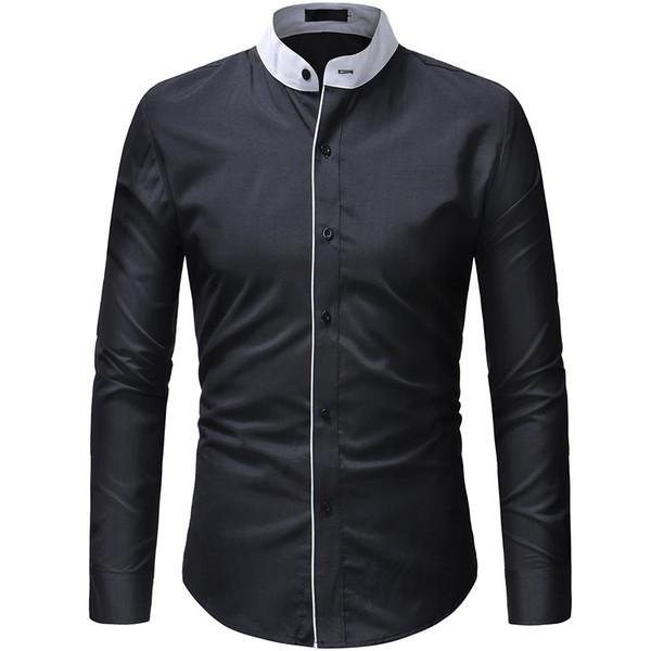 2018 Nuova vendita calda Moda taglio doppio soglia stile confortevole casual colletto della camicia da uomo Top XXXL