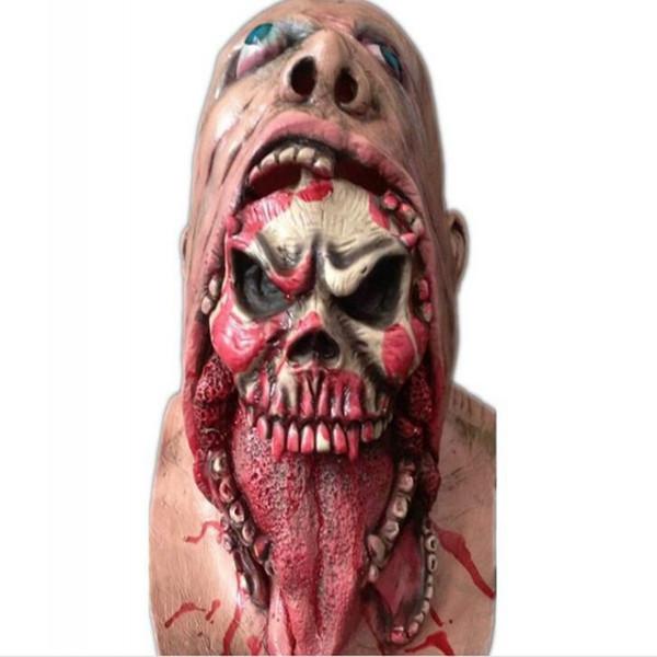 Adulto Látex Máscara Assustadora Cabeça Cheia Rosto Respirável Máscara de Halloween Horrível Horror Vampiro Máscara Fancy Dress Horror Zombie