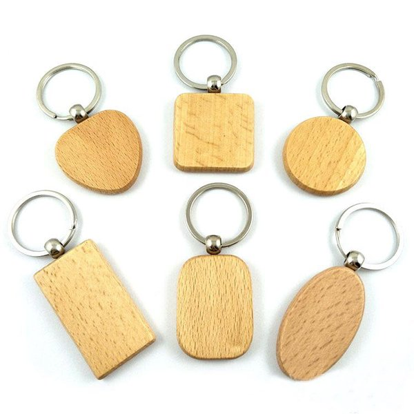 Simple Blank Wooden DIY Keyring Keychain Wood Key Chain Ring Carving Oval Round Rectangle Square Heart Shape Key Holder Car Pendant G199F