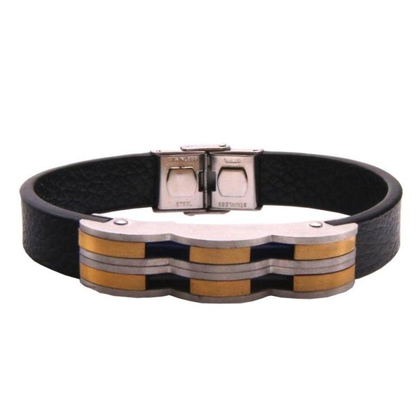 Stainless Steel Bracelet Men Genuine Leather Cuff Bracelets Casual Style Black Leather Bracelet Women Adjustable Round Jewelry