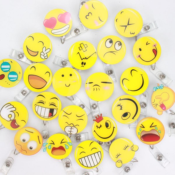 50 pcs/lot Acrylic Large Size Smile face Retractable Badge Reel Pull ID Card Badge Holder Belt Clip Hospital School Gift