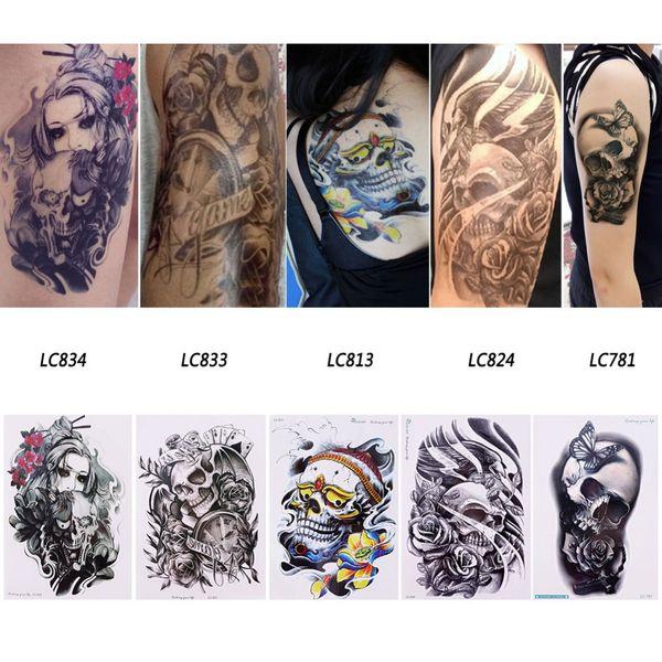 1 Sheet Waterproof 3D Arm Hand Body Arts Makeup Temporary Tattoos Sticker Men Women Feather Skull Glitter Tatoo Stickers #265942