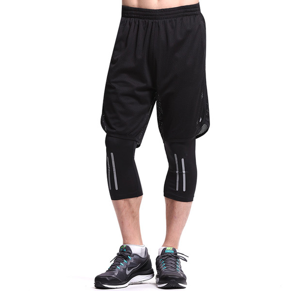 Leevy Quick Dry Fitness Tights Double Layer Men Compression Running Leggings Men's GYM Sports Cropped Trousers Training Tights