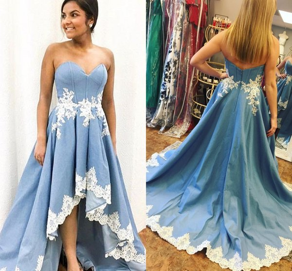 High Low Cheap Prom Dress 2018 Short Front Long Back Light Sky Blue Satin With White Applique Lace A line Evening Formal Gowns