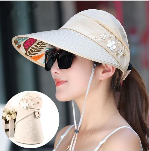 2018 Hot 1PCS women summer Sun Hats pearl packable sun visor hat with big heads wide brim beach hat UV protection female cap