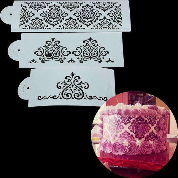 European Flower Damask Cake Stencil Mold Lace Border Decor Biscuit Cookie Tool King Queen Crown Paern Powder Sieve Spray Templ