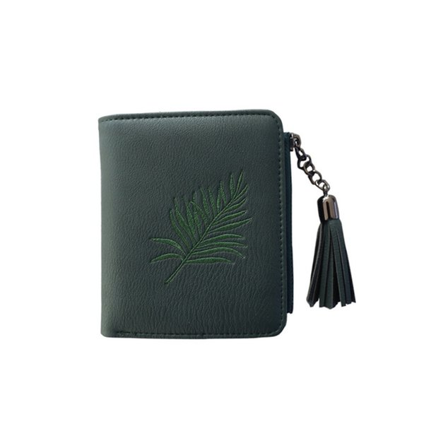 NIBESSER PU Leather Zipper Coin Purses Fashion Card Holder Women Short Wallet Embroidered Tassel Female Short Money Bag Wallets