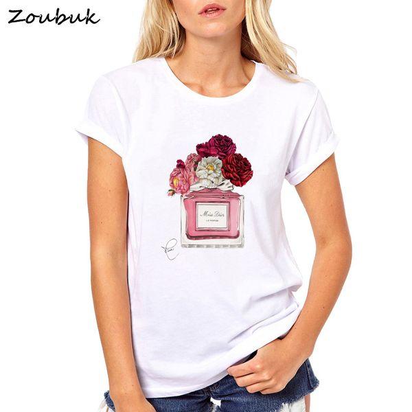 2018 harajuku camiseta mujer Flor Perfume camiseta mujer algodón de manga corta Casual camisetas femeninas más el tamaño tops camisetas