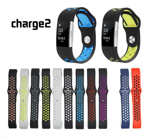 Double color ilicone wri t trap for fitbit charge 2 port bracelet replacement acce orie for fitbit charge 2 mart watch band