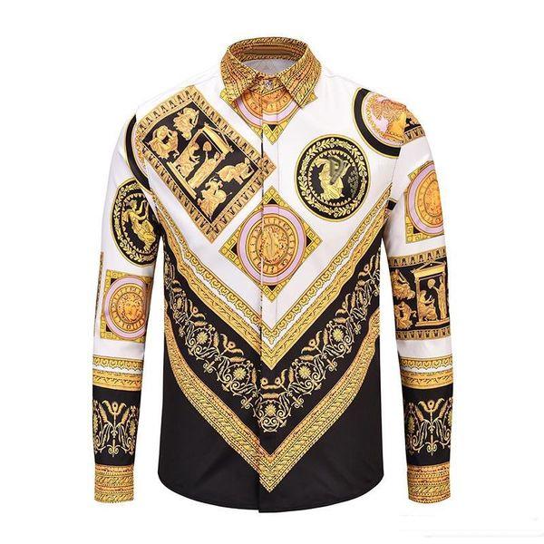 New brand design clothing male galaxy gold dragon flower print long sleeve 3d shirt baroque print medusa shirt size M- XXL