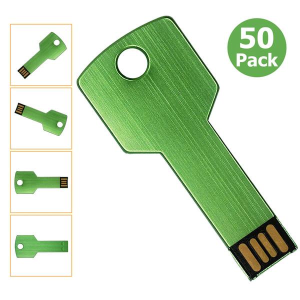 Bulk 20pcs Metal Key 32GB USB 2.0 Flash Drives Blank Media Flash Memory Stick for PC Laptop Tablet Thumb Storage Pen Drives Multicolors