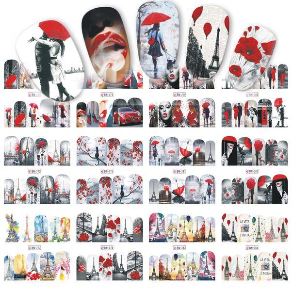 12 Tasarımlar Sevgililer Hediye Sticker Çift / Akçaağaç Tırnak Yaz Tasarımlar Nail Art Su Transferi Çıkartmaları Çivi İpuçları Sticker BN